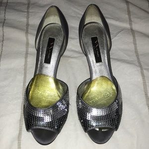 Brand new silver heels with sequins!